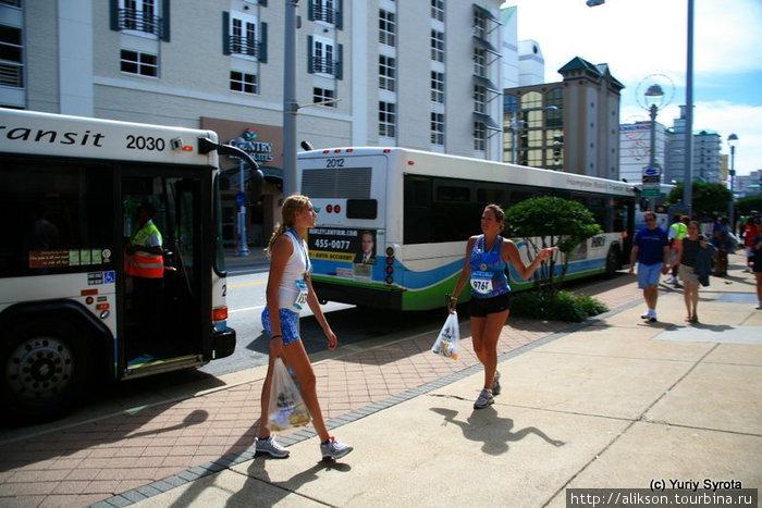 Автобусы, развозившие бегунов по домам.