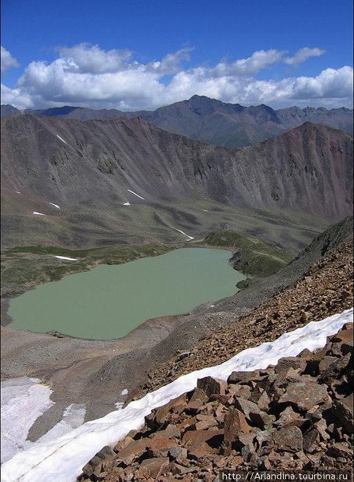 Озеро Сылтранкёль. Вид на озеро с перевала Зурбаган. Высота 3450м.