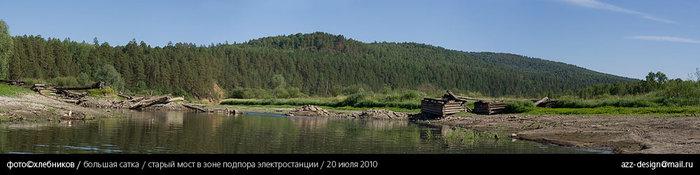 развалины старого моста / река большая сатка