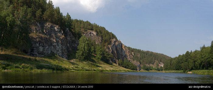 скала с межевской писаницей (самая ближняя скала) / река ай
