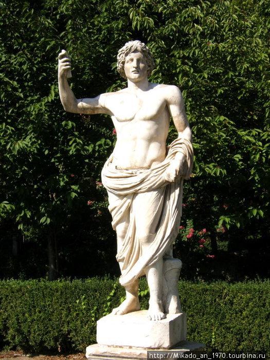Мужская античная скульптура в саду Ватикана
