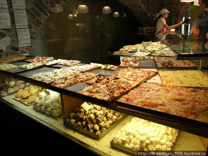 Пицца и пирожные