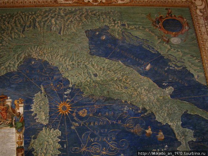 Карта Италии, в музее Ватикана