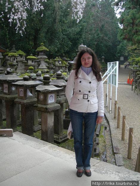 На фоне каменных фонарей