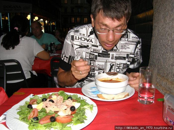 Ура, наконец то я в Италии отведал суп