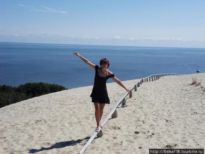Прогулка по дюне. За спиной залив.