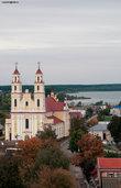 Глубокое, Беларусь. Вид на костел св. Троицы с колокольни собора Рождества Богородицы