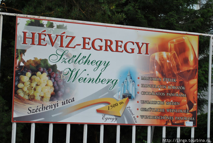 Плакат в центре Хевиза наглядно демонстрирует, откуда попасть в Эгредь и сколько метров потребуется преодолеть.