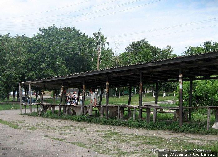 Рядом со станцией находится универсальное строение под названием длиннющий стол с лавками и навесом. Он же — рынок.