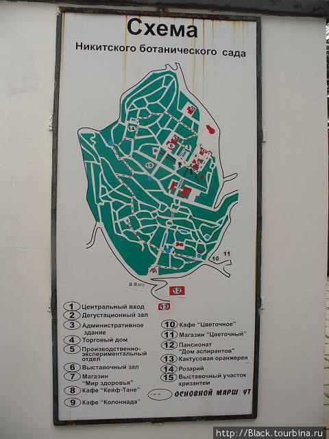 Схема Никитского ботанического сада