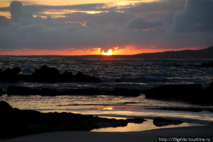 Вид на океан из отеля — закат солнца