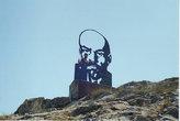 Араван, Ошская область. На горе — особый металлический Ленин