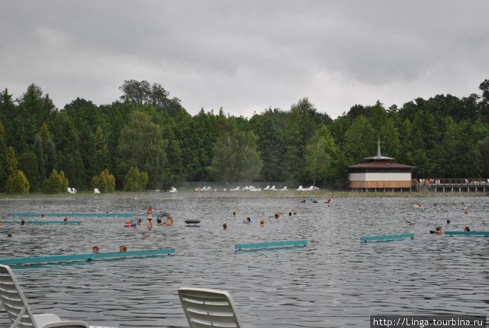 Детям до 12 лет вообще не рекомендуется купаться в озере, вода может негативно повлиять на формирование гормональной системы. Для детей на территории озера есть бассейны и всякие горки.
