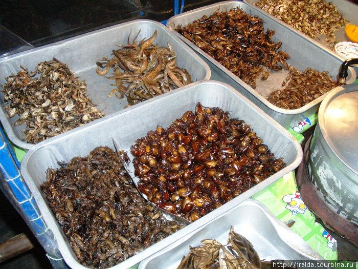 Наслышаны о тайской кулинарии в лице жареных кузнечиков, тараканов, лягушек и прочей мелюзги? Специальные лотки ждут настоящих гурманов.
