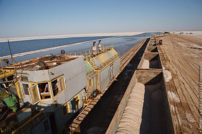 Таким образом, солесос это просто большой насос с измельчителем и грохотом, установленный на железнодорожную или плавучую платформу. Производительность солесоса примерно 300 тонн в час.