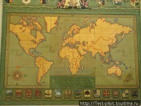 Карта мира в музее Окленда