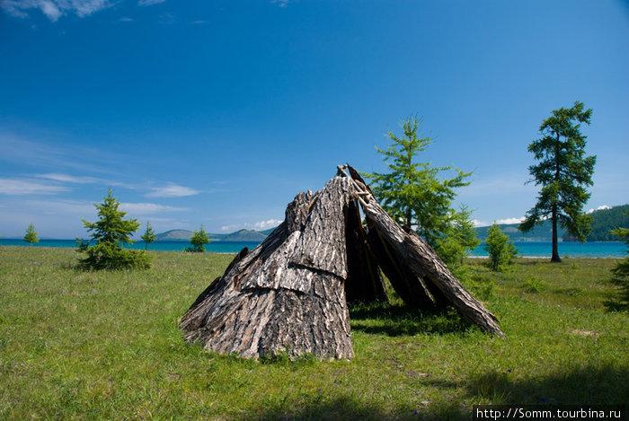 Это вовсе не жилище цаатана, а просто кто-то из персонала базы развлекался — построил чум из корья. Снято на территории турбазы.