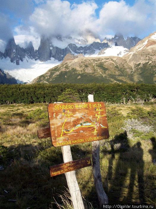 Направление к горным лагунам Лос-Гласьярес Национальный парк, Аргентина