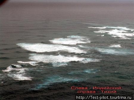 Линия встречи двух океанов. Слева  — Индийский, справа — Тихий. Происходит это на самой северной точке Новой Зеландии