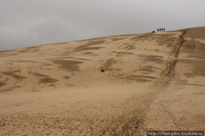 Катание на пластиковых досках по песчаным дюнам