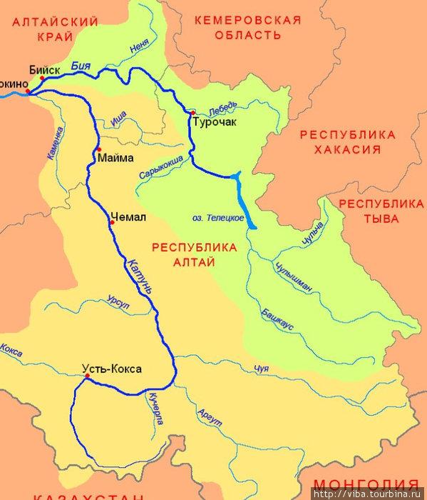 Карта-схема реки Катунь