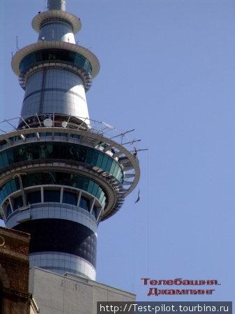 Оклендская телебашня — самая высокая в Южном полушарии. Наврху — ресторан. Есть здесь и тарзанка — обратите внимание на висящую фигурку справа.