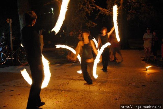 Огненное шоу в парке (эта фотография взята с сайта www.utcafesztival.hu)