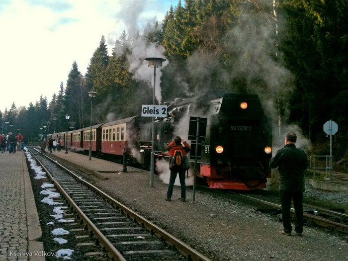 вот такой старинный поезд курсирует по горам Гарца