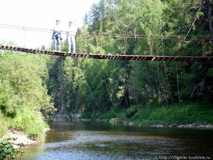 Висячий мост через реку Серга
