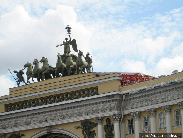 Колесница Славы на Триумфальной аркой Главного штаба
