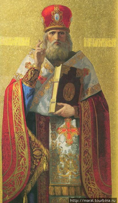 Николай Мирликийский. Мозаичная икона в нижнем ярусе главного иконостаса (художник Тимофей Нефф)