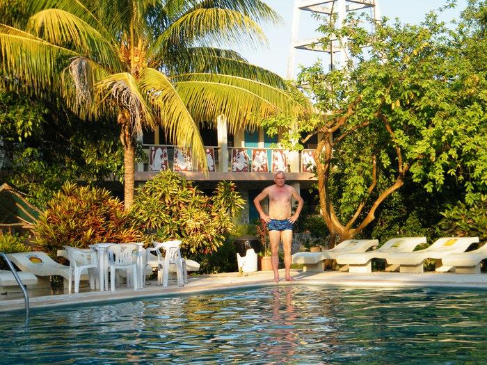 Парк и бассейн во дворе отеля Пирамида