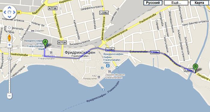 Маршрут от главного вокзала до хостела, пешком 15 минут