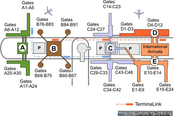 Это схема расположения терминалов в аэропорту им.Дж. Буша в Хьюстоне.