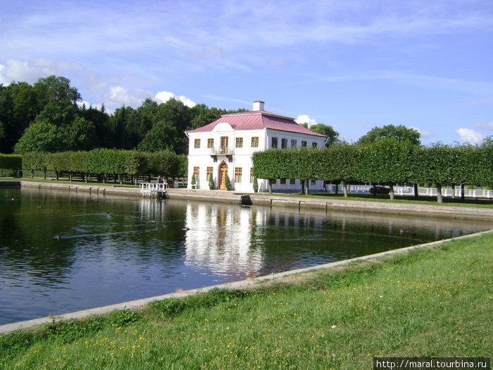 Изящные линии фасада дворца Марли, кружево его решёток отражаются в водной глади Прямоугольного пруда, где всегда много уток