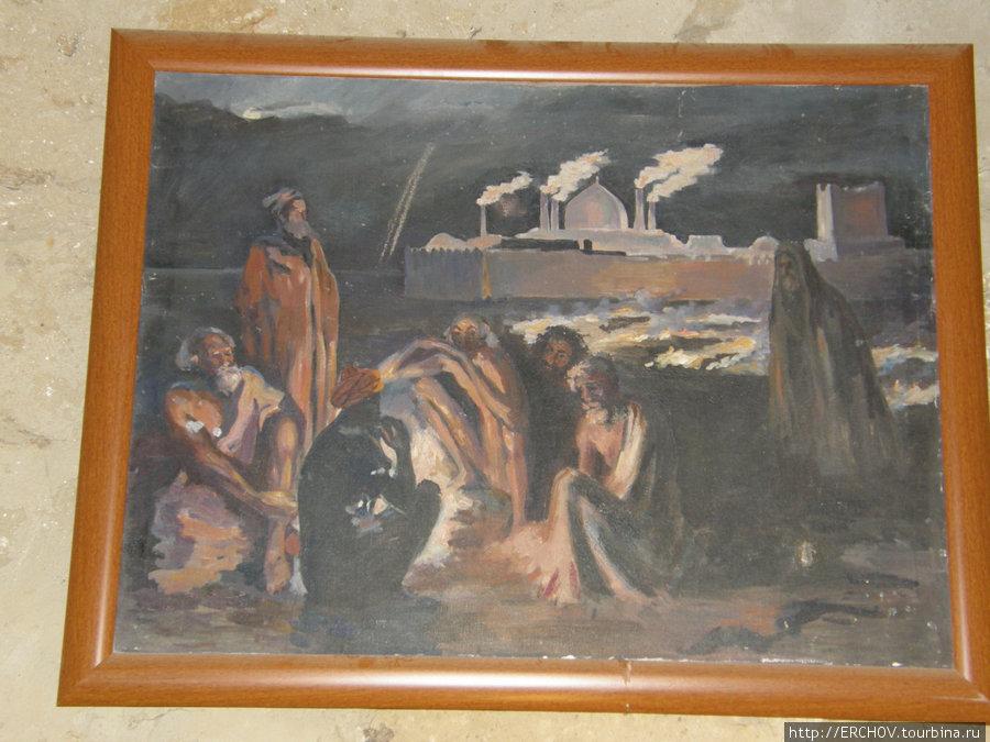 Картина середины 19 века. Так выглядел храм огнепоклонников Атешгях в Сураханах.
