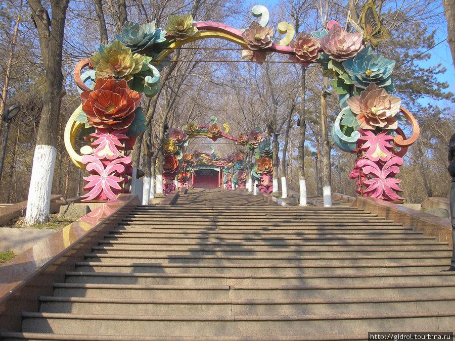 Центральная лестница, подъем на верх горы.