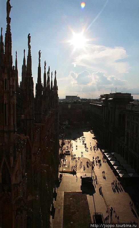 За 8 евро можно подняться на крышу, чтобы получше рассмотреть статуи на фасаде.