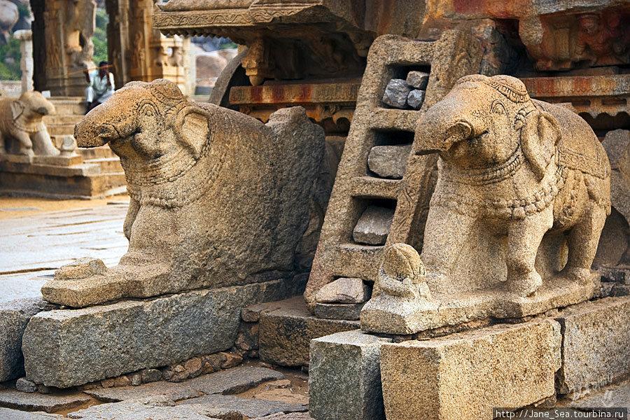 храм Виджайя Виталы — каменная колесница — детали