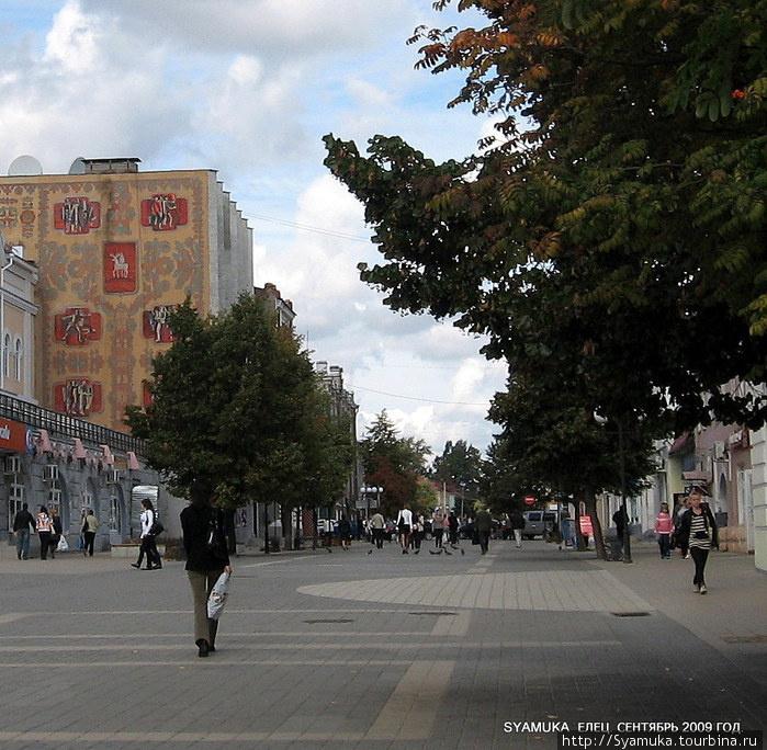 Улица Мира — бывшая Торговая улица — пешеходная, самая оживленная и одна из самых интересных улиц Ельца.