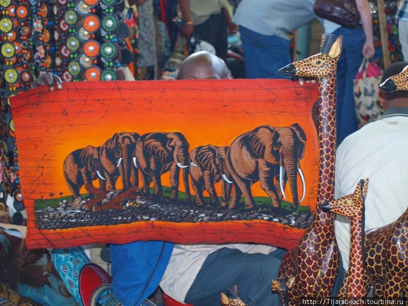 Очень яркий батик — закат со слонами