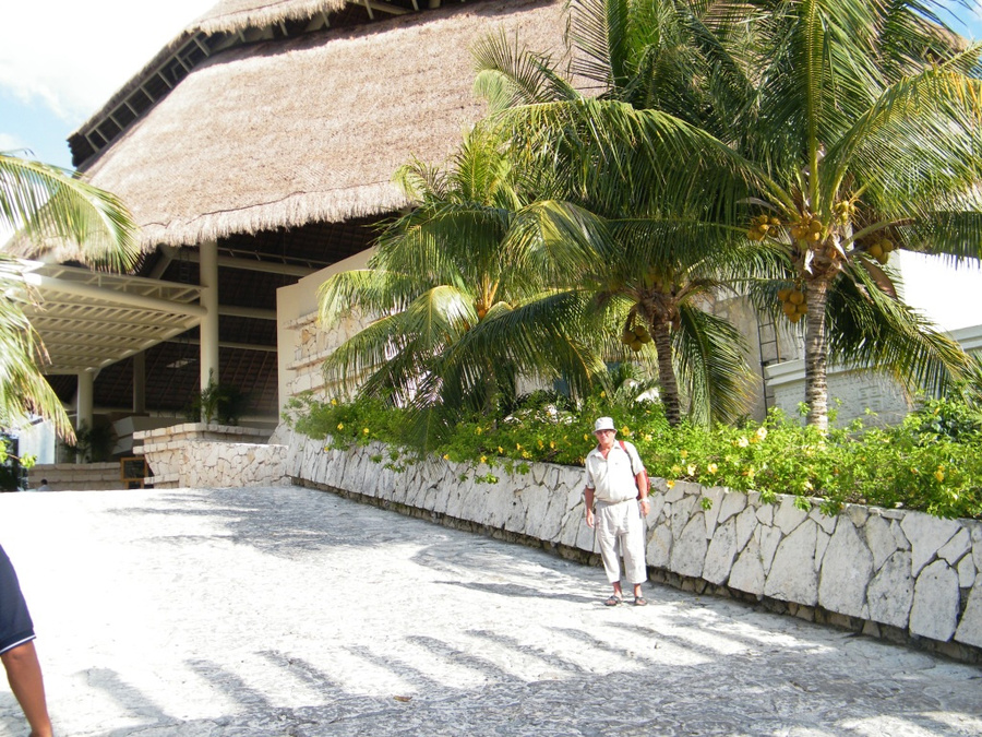 Вход в отель с навесом из пальмовых веток