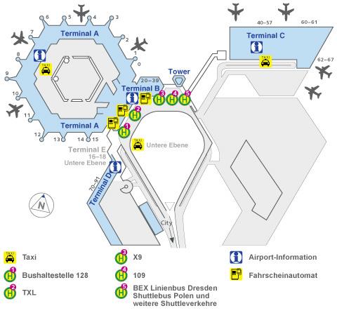 Схема терминалов и остановок общественного транспорта в аэропорту Тегель