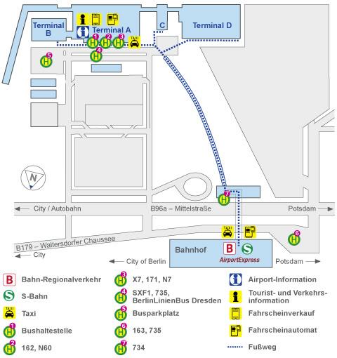 Схема терминалов и остановок общественного транспорта в аэропорту Берлин Шенефельд