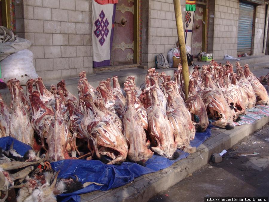 замороженные тушки коз и баранов лежат прямо на улице