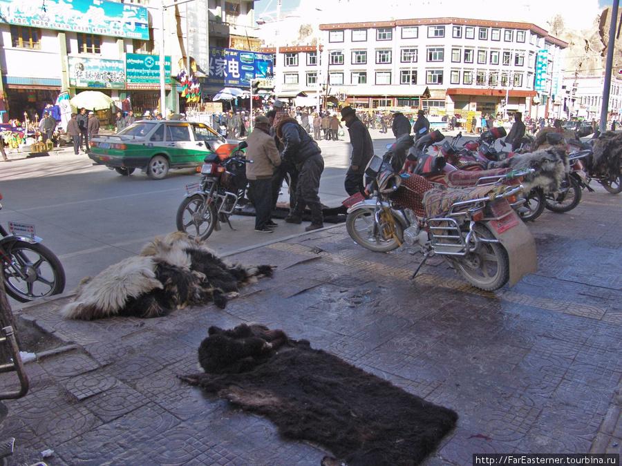 крестьяне привезли на рынок шкуры животных
