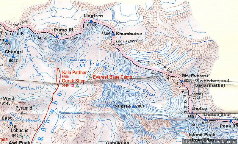 Карта района Эвереста