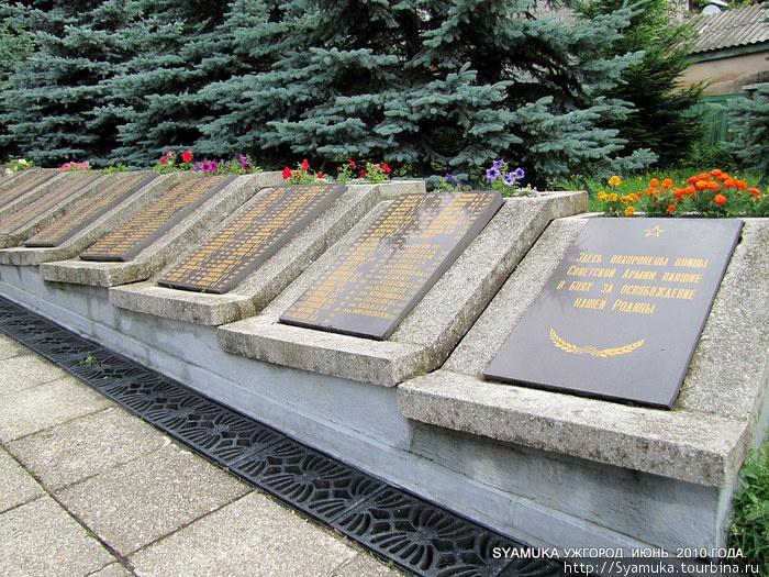 Захоронения воинов Советской Армии на кладбище.