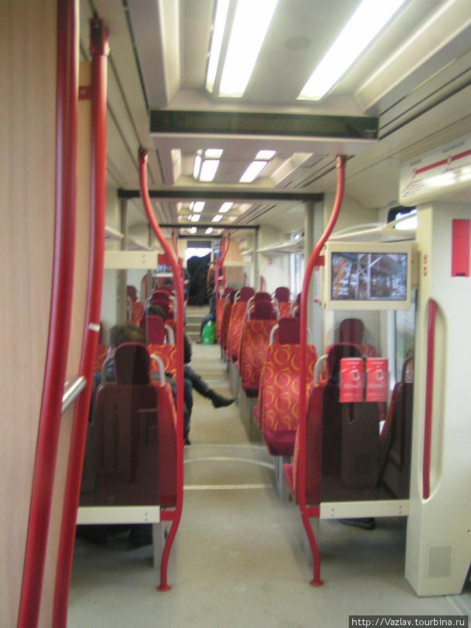 Внутренности трамвая