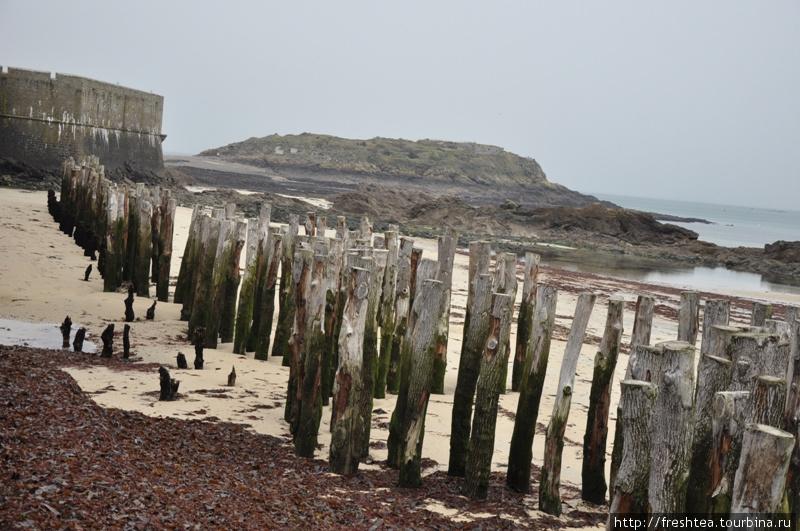 Умерить мощь приливных волн у стен города помогает череда толстых бревен, вбитых глубоко в донный песок. К слову, на таких же бревнах, всаженных в дно лагуны на берегах Адриатики, стоит Венеция.